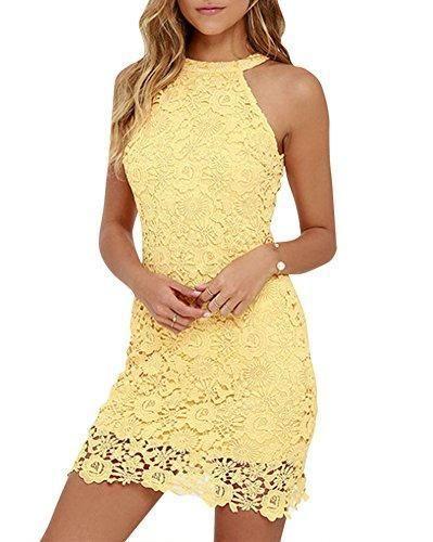 Oferta: 12.21€. Comprar Ofertas de Mujeres Vestido Encaje Bodycon Corto sin Mangas Casual Slim Falda Para Fiesta Mini Vestido Amarillo M barato. ¡Mira las ofertas!