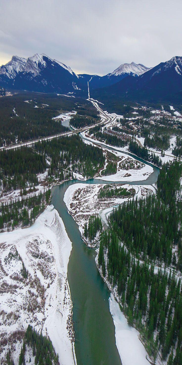Aerial views of the pristine natural landscape in Alberta - @laurenepbath on IG