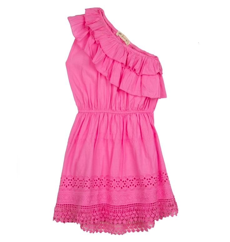 One shoulder cotton top with ruffle design, elasticated waist and lace design to the hem.