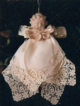Hankie doll made with vintage handkerchiefs. (Could be an angel Christmas ornament?)