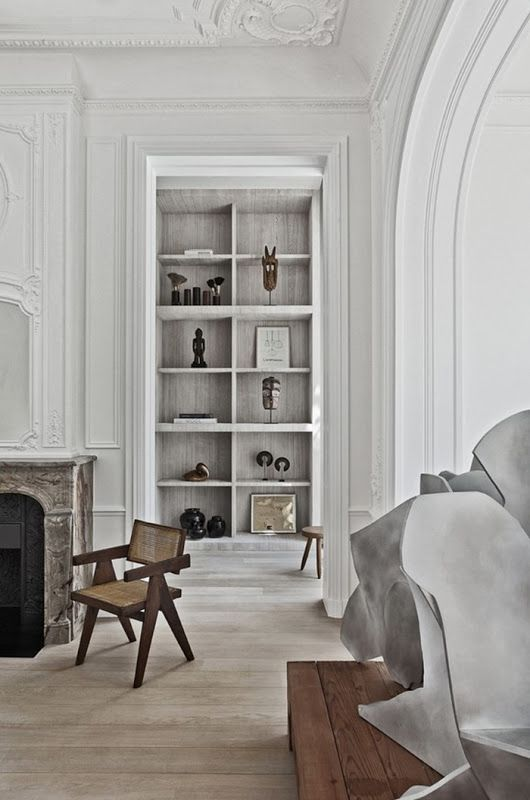 Living room and library in a Brussles townhouse by Olivier Dwek. Photo by  Serge Anton.