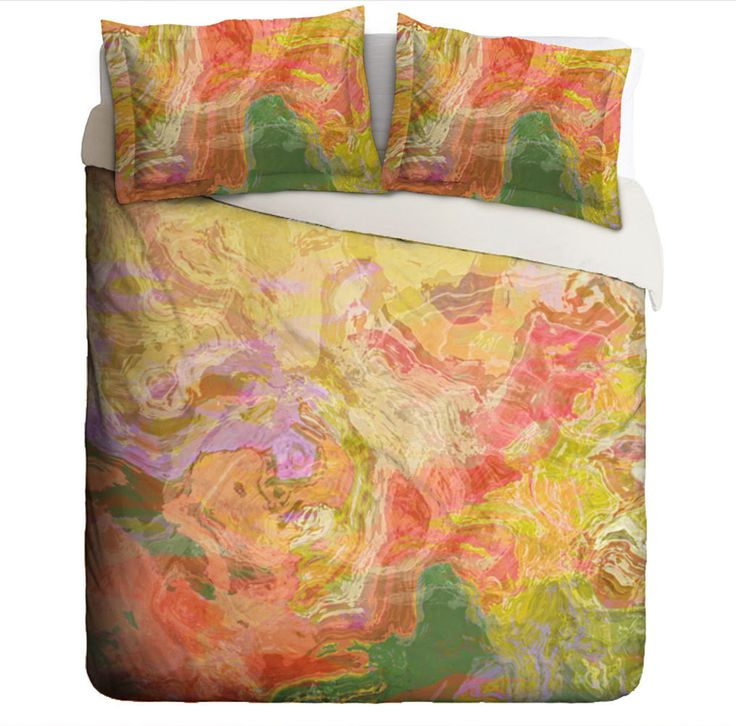 Abstract art Duvet Cover, king or queen, bright colors of red, yellow and green, Fiesta