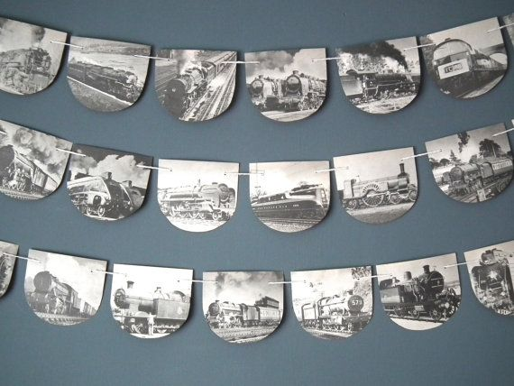 Vintage Train Bunting Train Garland Steam Train by TwoTimeVintage, £7.00, Think I could make this but if not it's 28 day delivery...