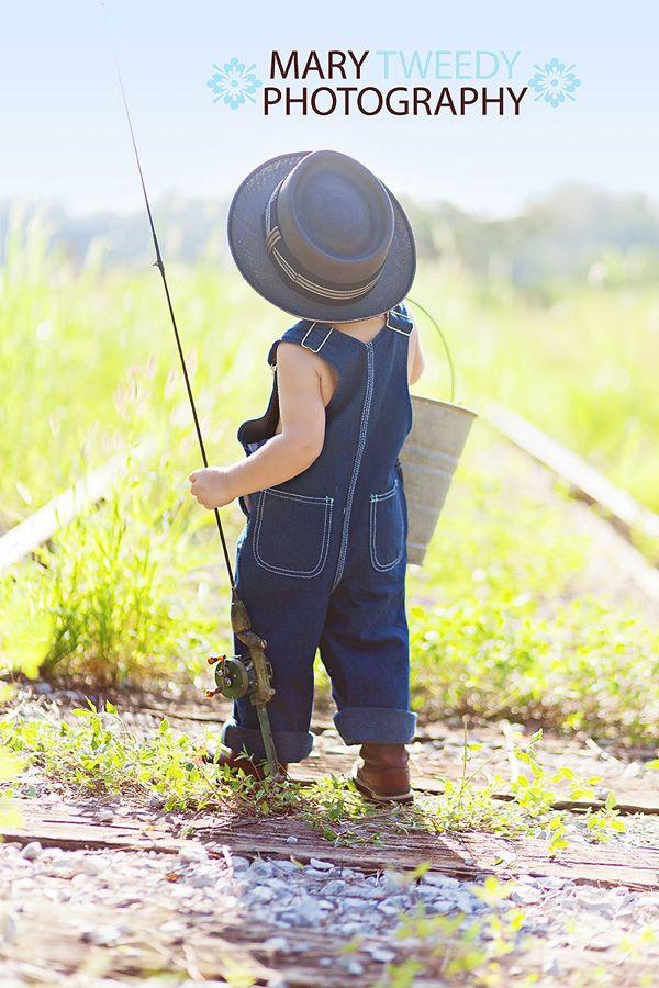 Fishing pole old hat railroad tracks cute for Little kid fishing pole