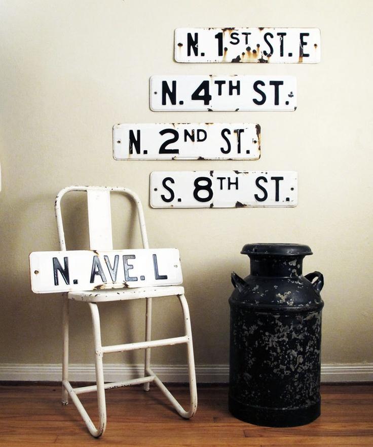 Vintage Street Sign : Porcelain Enamel Black and White