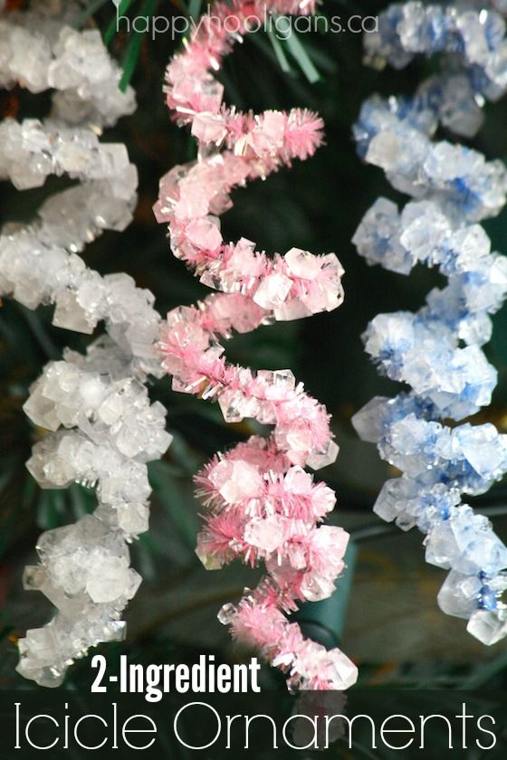 "WOW!  2-Ingredient Icicle Ornaments - Make gorgeous shimmering ""icicles"" with pipe cleaners in a borax and water solution!  Fascinating science experiment AND homemade ornaments for the tree! -  Happy Hooligans"