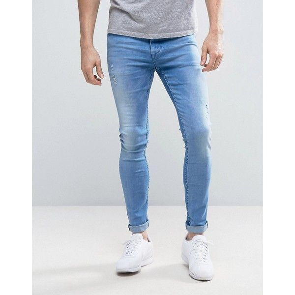 ASOS Super Skinny Jeans With Abrasions In Light Blue Wash (€41) ❤ liked on Polyvore featuring men's fashion, men's clothing, men's jeans, blue, mens destroyed jeans, mens skinny jeans, mens super skinny ripped jeans, mens torn jeans and mens distressed skinny jeans