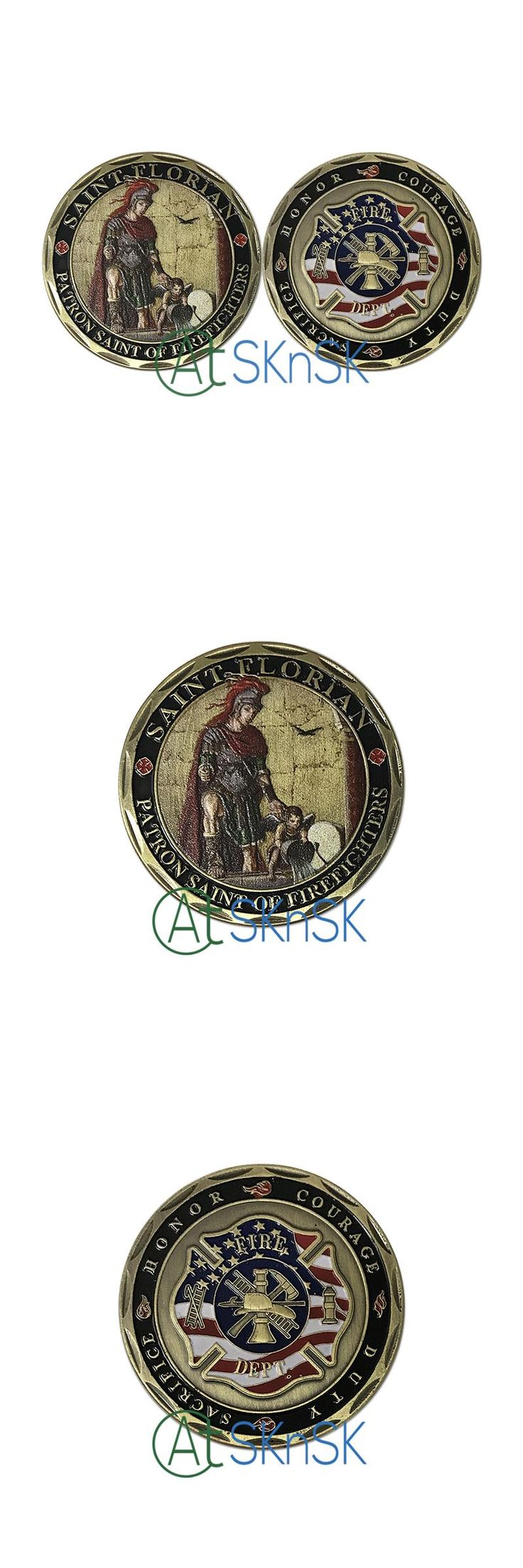 [Visit to Buy] New Souvenir coins Collectible St. Florian Patron Saint of Firefighters Fire Rescue Challenge Coin Metal Coin drop shipping  #Advertisement