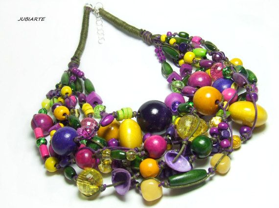 CROCUSES Braided Necklace Multicolored Necklace Wooden by JUBIARTE