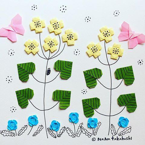 だんだん春 だいすき #ぺんぺん草 #flower #shepherdspurse #origami #papercraft #paper #butterfly #lutukka #おりがみ #イラスト #折り紙 #お花 #ちょうちょ #ナズナ