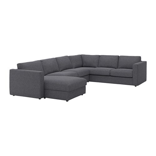 VIMLE Sectional, 5-seat corner, with chaise, Gunnared medium gray - with chaise/Gunnared medium gray - IKEA