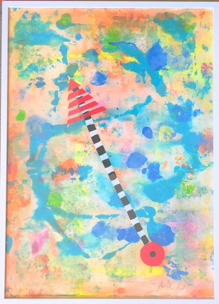 Akryl/collage 50x70 på papper 400g med vit ram