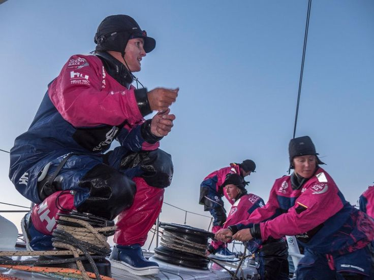 Stacey Jackson gives instruction as the team prepares for a gybe. More pictures on http://teamsca.com/gallery #teamsca