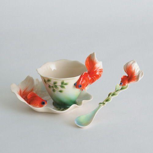 Goldfish design sculptured porcelain cup & saucer set, and spoon