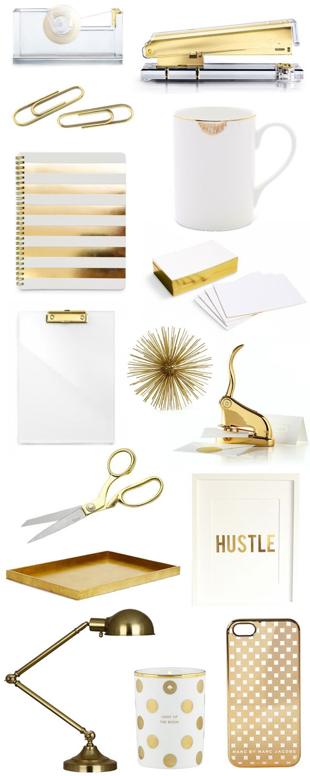 Fancy up your desk with these beautiful gold office accessories. #officesupplies #workspace