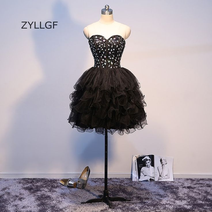 >> Click to Buy << ZYLLGF Short Black Prom Dresses Sequins Beaded Tiered Bottom Ball Gown Sweetheart Imported Special Occasion For Party Q61 #Affiliate