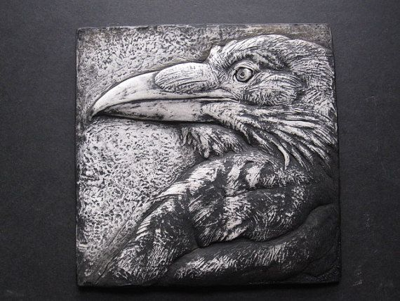 Stark Raven...  Dramatic Bas Relief Wallsculpture Nature Gift Black and White Art Bird Crows