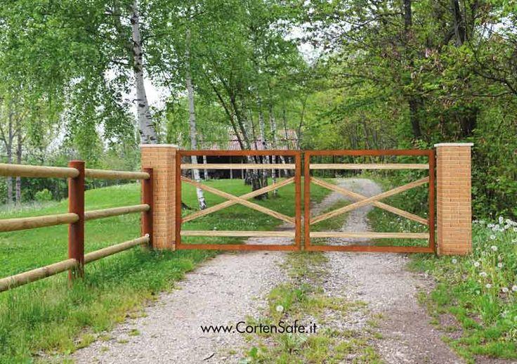 #Cancello in #corten con assi incrociate. Modello Lidia.