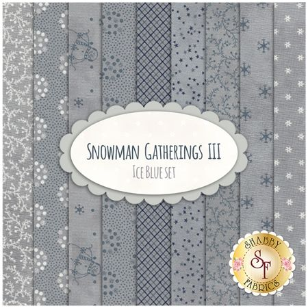 Snowman Gatherings III  9 FQ Set - Ice Blue Set by Primitive Gatherings for Moda Fabrics