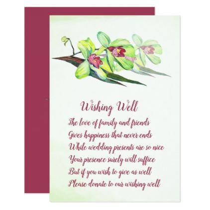 Green Orchid Marsala Wedding Wishing Well Cards - wedding invitations diy cyo special idea personalize card