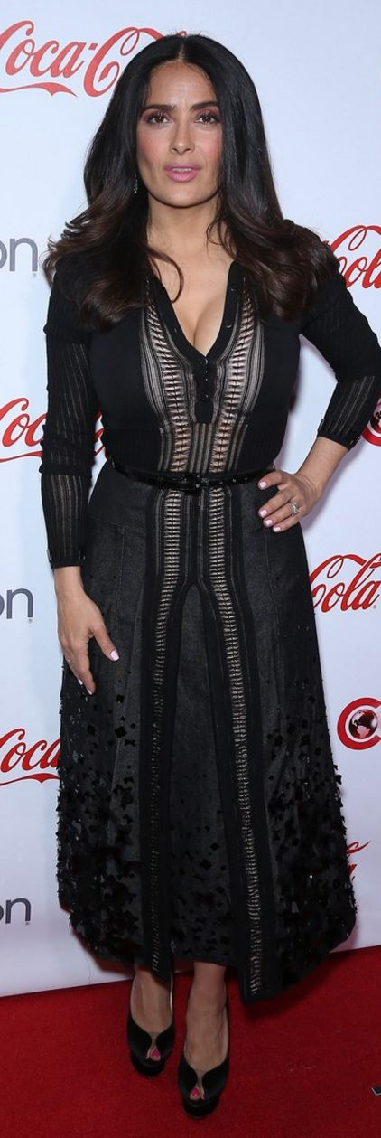Salma Hayek in Shoes – Charlotte Olympia  Dress – Bottega Veneta