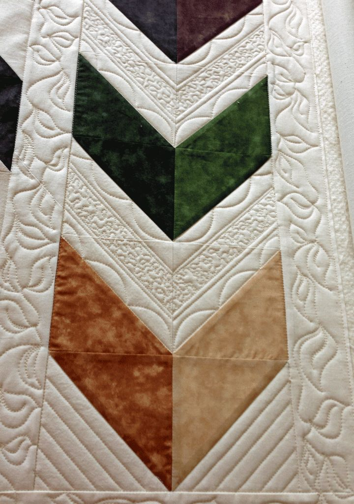 Pretty quilting on a chevron quilt with video!