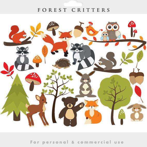 Imágenes Prediseñadas de Woodland - prediseñadas de bosque, lindos, caprichosos, bichos, animales del bosque, fox, mapache, venado, oso, ardilla, hoja, hojas, bellotas