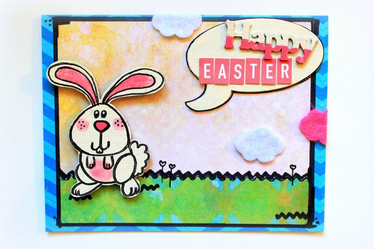 Easter Bunny HAPPY EASTER Card - OOAK - Hand Painted Card - Easter Card - Easter Greeting Card - Handmade Card - Cute Easter Card - Unique (4.70 AUD) by byChantalVandenberg