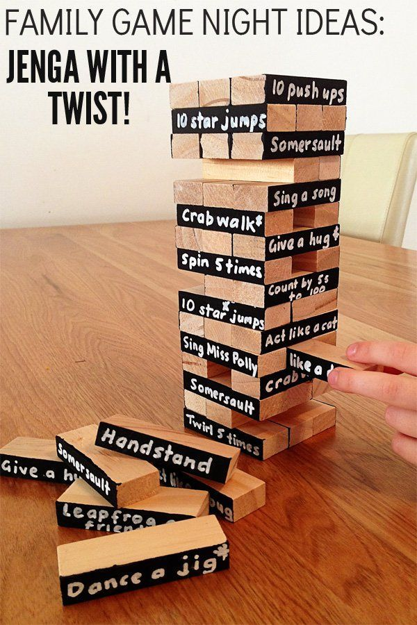 Family game night idea - it's Jenga with a twist! Such great family fun.