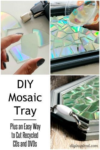 Resin Mosaic Tray with Recycled CDs and DVDs