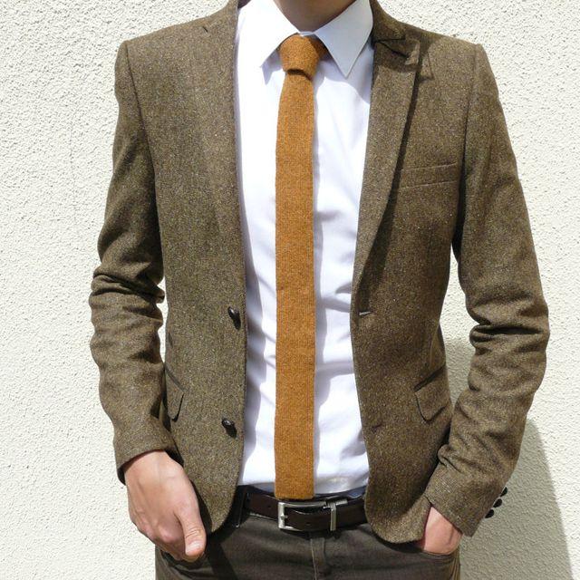 skinny knitted golden mustard tie