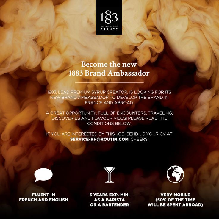 Become the new 1883 Brand Ambassador! If you're interested, read the details and contact us :-) #Barista #Bartender