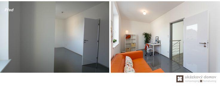 Home Staging nezařízeného rodinného domu v Praze #praha #prague #czech #homestaging #pred #po #before #after #white #walls #novostavba #kidsroom #space #orange #sofa #ikea #cz