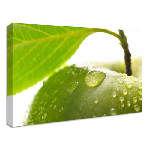 A Fun And Lively Addition To Any Vibrant Kitchen The Enticing Green Apple Kitchen Canvas