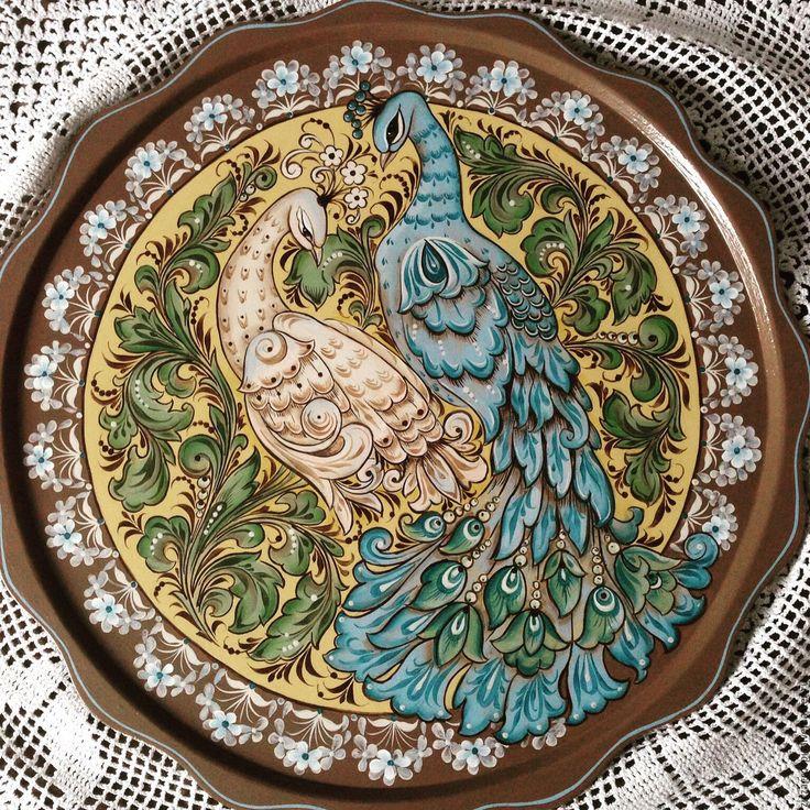Купить Тарелка - панно декоративная Павлины - Тарелка декоративная, декоративная тарелка, Роспись по дереву, птицы