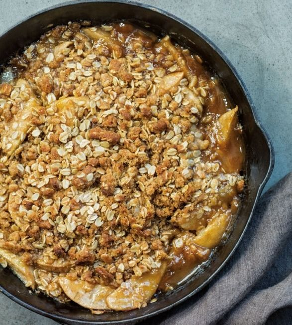 Baked in a cast-iron fry pan with a bourbon-scented pear filling and a buttery-crisp topping. Choose Bartlett or Bosc pears that are ripe and give a little when pressed but are not overripe.