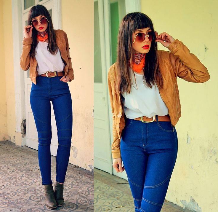 high waisted blue jeans and caramel leather bomber jacket: http://jointyicroissanty.blogspot.com/2017/05/blue-high-waisted-jeans.html