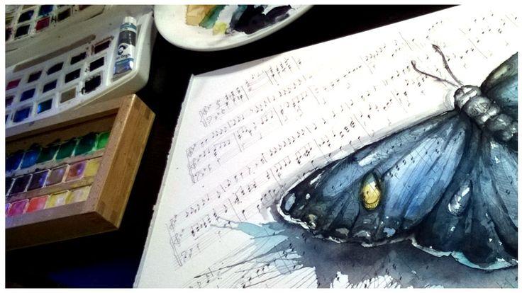 Akvarelový obraz - motýl v tónech