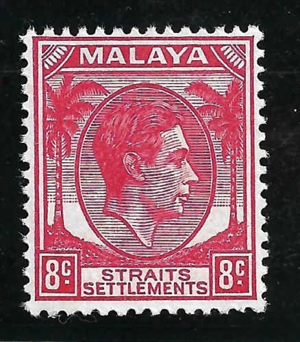 STRAITS-SETTLEMENTS-1945-KGVI-8c-Scarlet-Not-Issued-Without-BMA-overprint-MNH