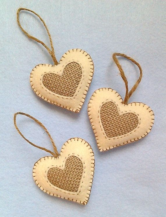 Handmade felt and burlap hearts set of 3 by LITTLEFACTORYCRAFTS