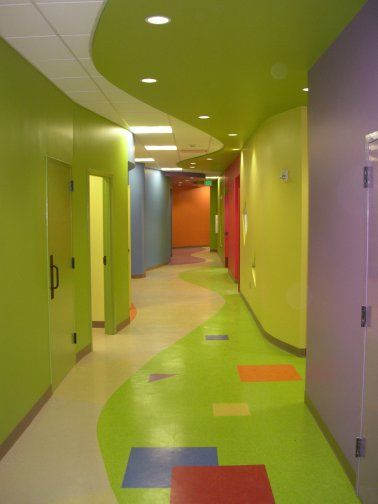 Children's Ministry hallway. Bright and cheerful! @Lorelee Heinz Siemens I want this in our future church some day