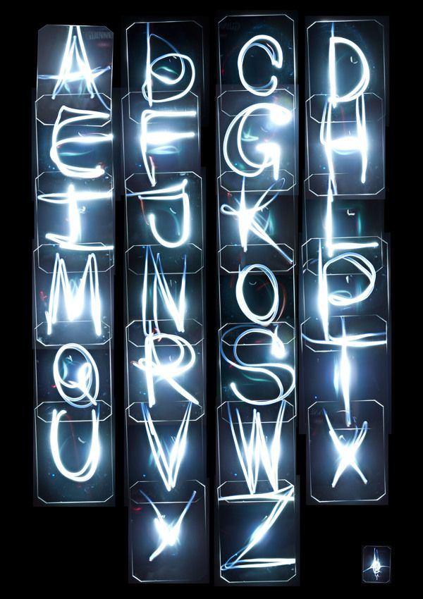 Light TypeNice experimental alphabet by Aleksandr Prohorov in the UK. Nice that each of the letters are enclosed. Not your usual, writing with a torch:The idea of this piece is to capture full 26 character alphabet using sound and light through light sensors, some electronics and long exposure photography. Four light sensors were directed to the centre of the space between them in the X shape to ensure full area coverage. Small torch was used as the light source for sensors to respond to…
