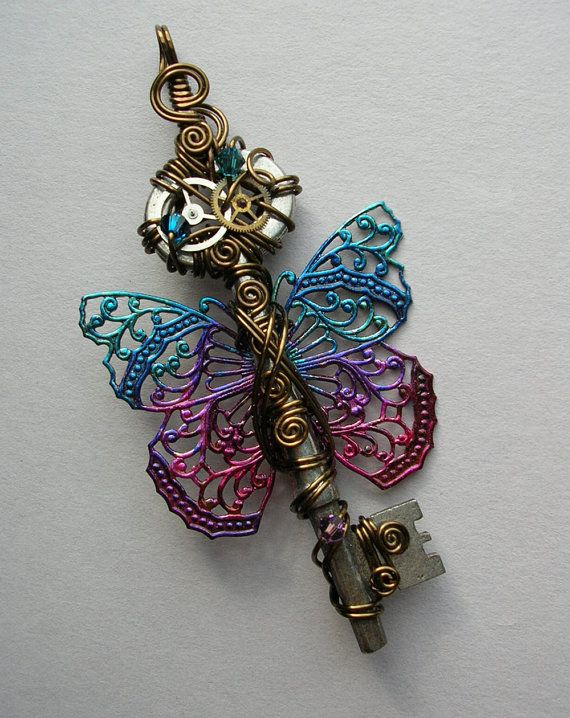 Butterfly Clockwork Key Pendant --Blue-Purple-Pink Steampunk Filigree Butterfly Winged Key Wire Wrapped with Gears, Crystals (A Key to Time) via Etsy