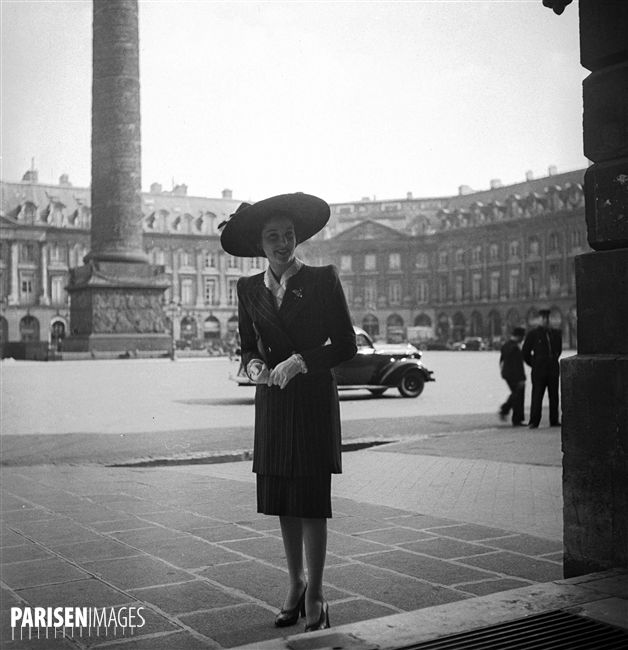 Princess Fawzia Fuad of Egypt, sister of king Farouk. Paris, april 1946.