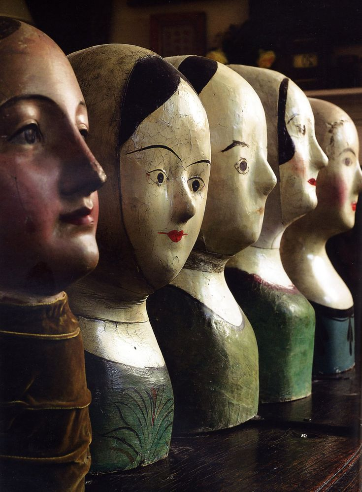"""A collection of five French painter papier-mache wig makers' or milliners' marottes, circa 1880. The largest 16"""" high."""