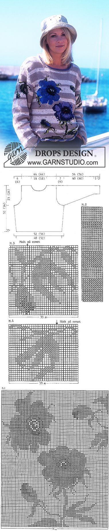 DROPS Rose sweater in 4 yarn types ~ DROPS Design | вязание(жаккард,вышивка) | Постила