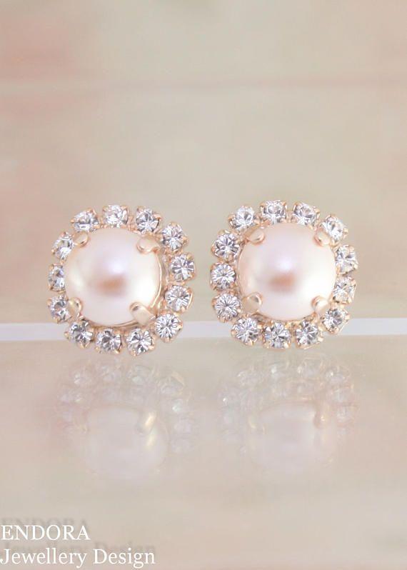 Peach Pearl Earrings Swarovski Wedding Bridesmaid