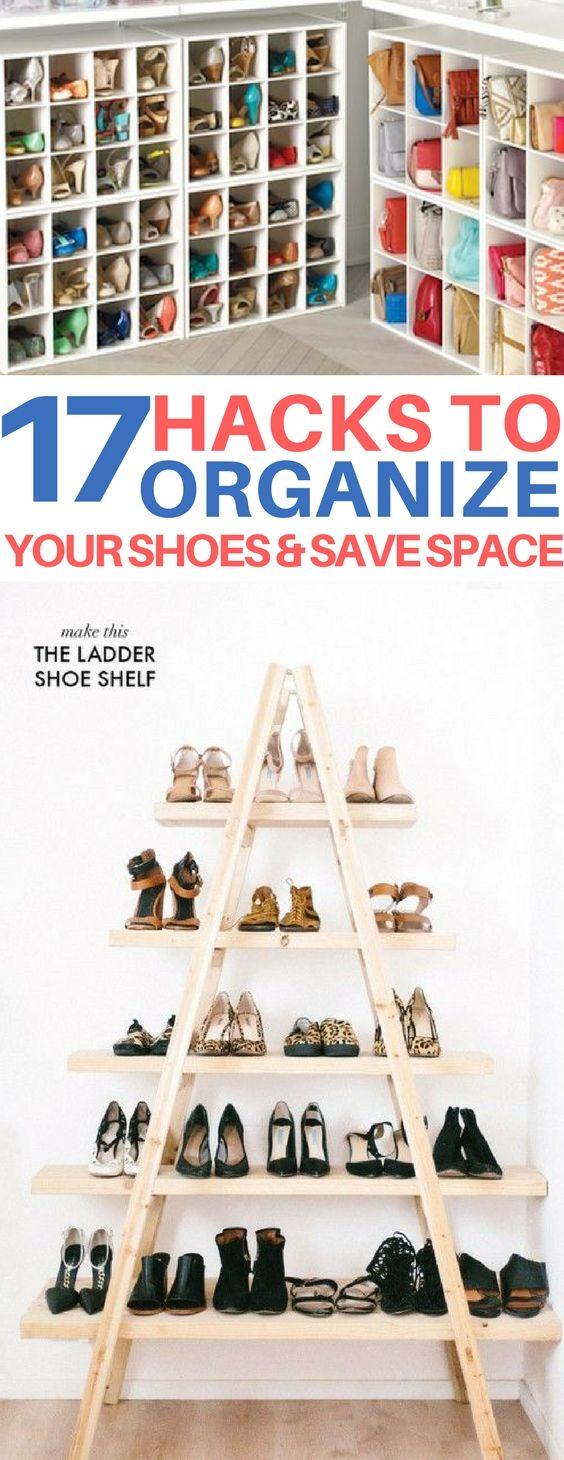 The BEST shoe storage ideas! organizing hacks, diy room decor, diy home decor, how to organize shoes, space-saving tricks, closet organizing
