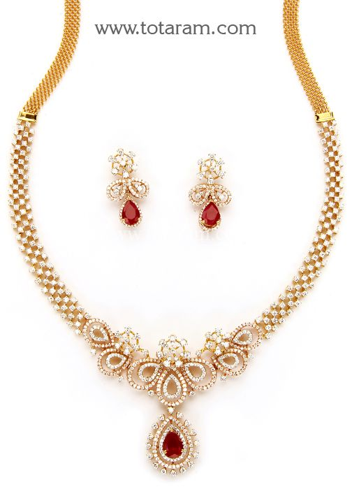 18K Rose Gold Polish  Diamond  Necklace & Earrings Set with Ruby & Green…