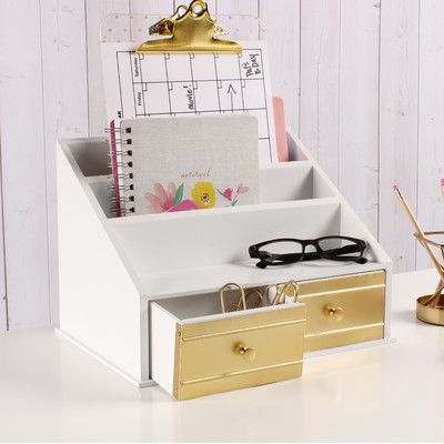 Kate and Laurel Industrious Desktop File Folder Organizer with 2 Pockets and 2 Drawers Finish: